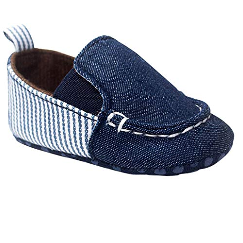 Infant Shoes,Toddler Baby Boys Soft Sole Leather Non-Slip Striped Comfy Casual Shoes (6-12 Months, Blue)