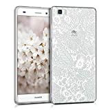 kwmobile TPU Case for Huawei P8 Lite (2015) - Soft TPU Silicone Cover - Crystal Clear Back Case IMD Design - White/Transparent