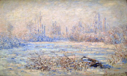 Artisoo Frost near Vetheuil–サイズ: 30x 18インチ–印象派油絵Reproduction–クロード・モネの商品画像