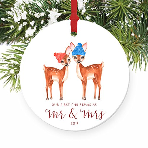 Love Deer First Christmas as Mr & Mrs Ornament 2017, 1st Married Christmas Porcelain Ornament, 3