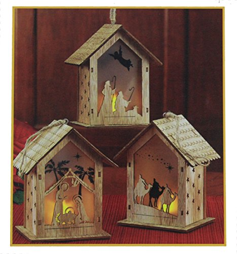 THREE KINGS GIFTS THE ORIGINAL GIFTS OFCHRISTMAS Nativity Scene Cut-Out LED Light-up 5 inch Wood Carved Christmas Ornament Set of 3