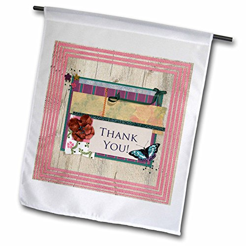 3dRose Beverly Turner Thank you Design - Thank you, Butterfly, Flowers, Bow on Wood Look, Rick rack, Pink Trim - 18 x 27 inch Garden Flag (fl_254532_2) (Rick Light Rack)