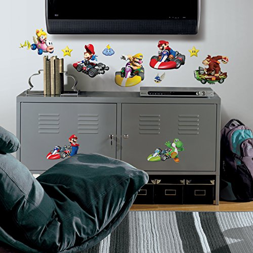 Roommates 771Scs Nintendo Mario Kart Peel And Stick Wall Decals, 34 Count (Toadstool From Mario)