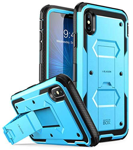 iPhone Xs Max Case, [Armorbox] i-Blason [Built in Screen Protector][Full Body] [Heavy Duty Protection] [Kickstand] Shock Reduction Case for iPhone Xs Max 6.5 inch (2018) (Blue)