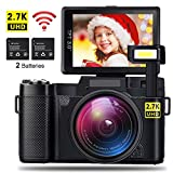AMKOV CD-R2 Digital Camera Vlogging Camera 24MP 2.7K 1080P WiFi Camcorder with 4X Zoom, 2 Rechargeable Batteries, 3 Inch 180°Flip Screen Retractable Flashlight Easy Operation to Seniors/Kids
