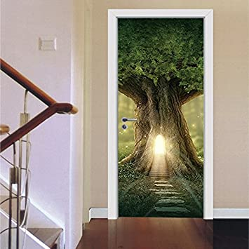 MIAORUI Wald leuchtenden Aufkleber, baumhäuser, kreative tür ...