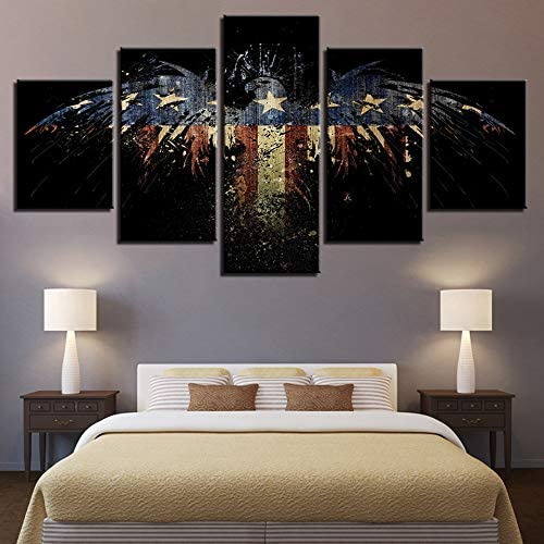 mmwin Modular HD Art Wall Moderno Lona 5 Panel Eagle Flag Sala de ...