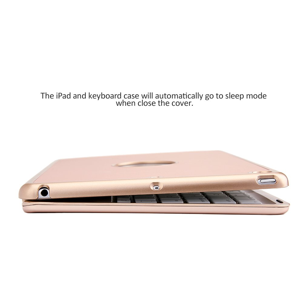 iEGrow iPad Pro 10.5 Keyboard Case F105 7 Colors LED Backlit Keyboard with Protective Case Cover for 2017 iPad Pro 10.5 Model A1701//A1709 Rose Gold