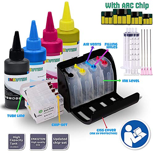INKUTEN HP 932 933 CISS Continuous Ink Supply System for HP 932XL 933XL officejet 6100 6600 6700 officejet 7110 7610 Wide Format Printers with 4x100ml Premium Ink Bottle Set