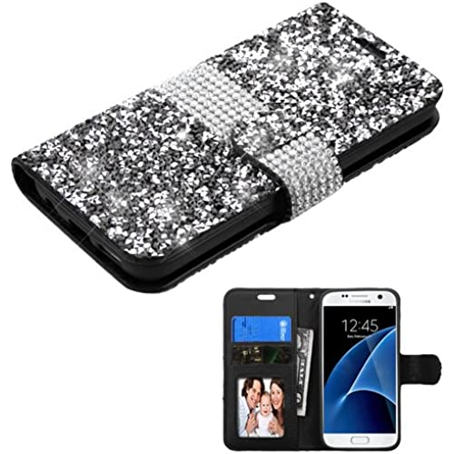For SAMSUNG Galaxy S7 Crystal/Studs Black Bling ID/Wallet PU Case Pouch - ASMYNA Sales