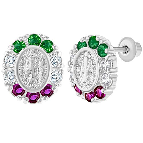 Rhodium Plated Virgin Mary Lady of Guadalupe Multicolor Crystal Screw Back Earrings