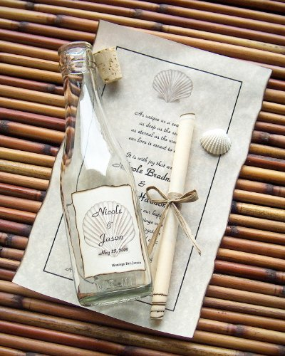 Message Bottle Wedding Invitations - Message In A Bottle ® Signature Glass Wedding Invitation Sample - Seaside