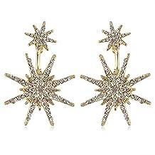 MengPa Women's Hexagram Stud and Ear Jacket Cuff Earrings