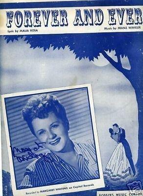 Margaret Whiting Jazz Big Band Singer Signed Autograph SheetMusic Photo from Hollywood Memorabilia