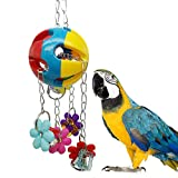 Bird Chew Toy for Parrot Macaw African Grey Budgie Parakeet Cockatiel Cockatoo Conure Amazon Lovebird Birdcage Accessories with Acrylic Flower Shape Bell