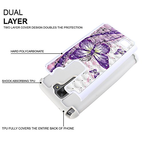 FINCIBO LG Stylo 2 LS775 Case, Dual Layer Shock Proof Hybrid Hard Protector Cover Anti-Drop TPU Rhinestone For LG Stylo 2 LS775/ Stylus 2 K520/ Stylo 2 V VS835 - Purple Butterfly (Style 2)