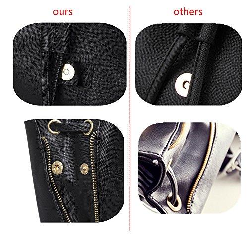 WINK KANGAROO Fashion Shoulder Bag Rucksack PU Leather Women Girls Ladies Backpack Travel bag (Black) by WINK KANGAROO (Image #5)