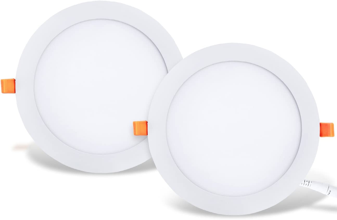 LVWIT 2x Placa circular LED de Techo - 25W equivalente a 150W, Downlight empotrable de 2000 lúmenes, Color blanco neutro 4000K, Transformador Incluido. 225 x 21mm - Pack de 2 Unidades.