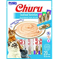 INABA Churu Lickable Purée Natural Cat Treats (Seafood Variety, 20 Tubes)