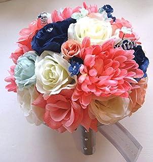 Amazon 17 pcs wedding silk flower bouquet bridal package coral 17 pieces package wedding bouquet bridal silk flower coral mint navy blue silver centerpiece decoration rosesanddreams mightylinksfo