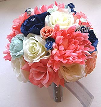 Amazon 17 pieces package wedding bouquet bridal silk flower 17 pieces package wedding bouquet bridal silk flower coral mint navy blue silver centerpiece decoration rosesanddreams junglespirit Gallery