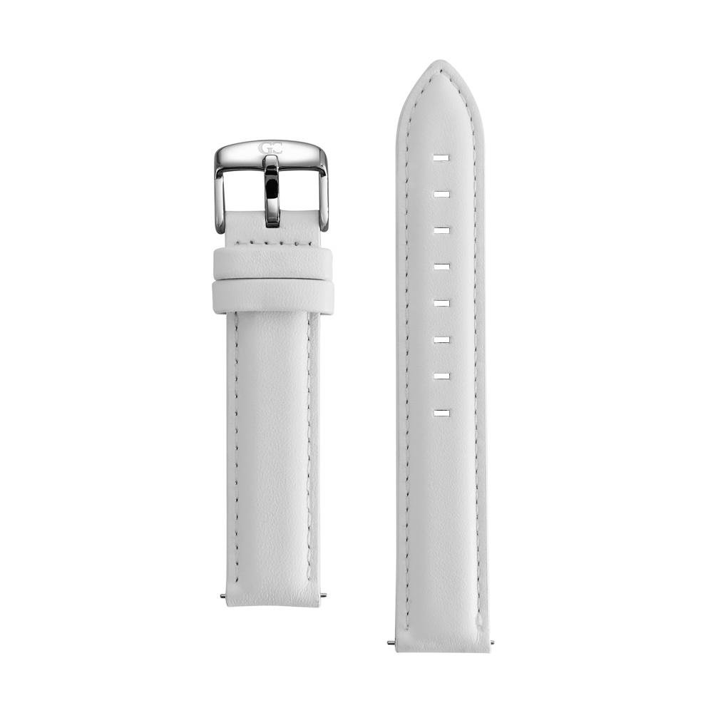 Gelfand & Co. Quick Release Interchangeable Watch Strap White Genuine Leather 18mm Silver