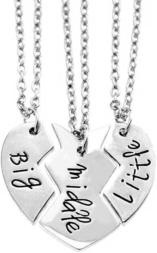 3pcs Steel Heart Love Brother Sister Pendant Chain Necklace Family Jewelry Gift
