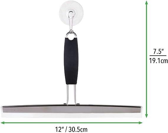 mDesign Espátula limpiacristales para Ducha limpiavidrios para mamparas de Ducha o Ventanas – Limpiador de Cristales Negro de Acero Inoxidable – con Ventosa para fijación a Pared: Amazon.es: Hogar