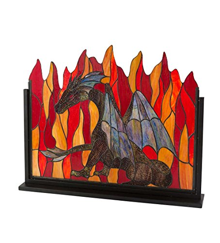 Indoor Home Decorative Stained Glass Dragon Fireplace Screen with Metal Frame 30.75 W x 22.25 H x 4.75 (Glass Metal Fireplace Screen)