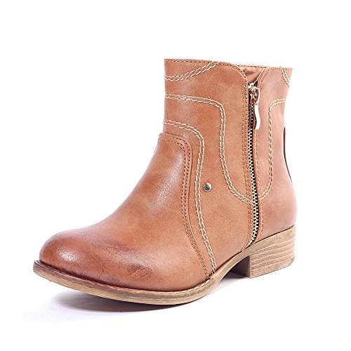 Alexis Leroy - Stylish Solid Side Zipper Ankle Boots para mujer Marrón