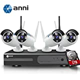 anni 4CH 1080P HD NVR Wireless Security CCTV Surveillance Systems, Wifi NVR Kit and (4) 2.0MP Megapixel Wireless Indoor Outdoor Bullet IP Cameras, P2P, 65ft Night Vision,with 1TB Hard Drive