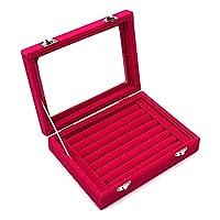 Ivosmart Velvet Glass Ring Jewelery Display Storage Box Tray Case Holder Earring Organizer Stand
