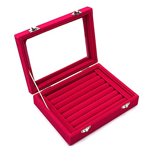 Ivosmart 7 Slots Velvet Glass Ring Jewellery Display Storage Box Tray Case Holder Earring Organizer Stand - 7 Dollar Glasses