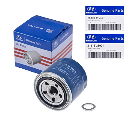 Price comparison product image Genuine OEM For Hyundai / Kia Oil Filter 26300-35504 & Plug Gasket 21513-23001