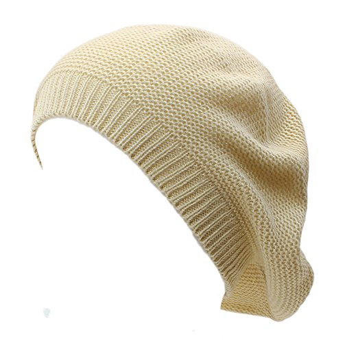 AN- Womens Fashion Soft Lightweight Knit Beret Beanie Hat in Solid Color (Beige)