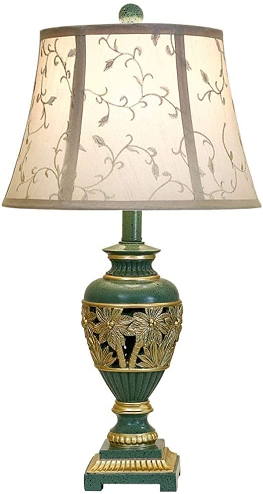 """Exquisite Traditional Bedside Table Lamps, Green Resin Carved Coconut Tree Desk Lamp With Linen Printing Bell Shade For Living Room Hotel Office, 60cm/23.6"""" Decor Lamp: Amazon.co.uk: Lighting"""