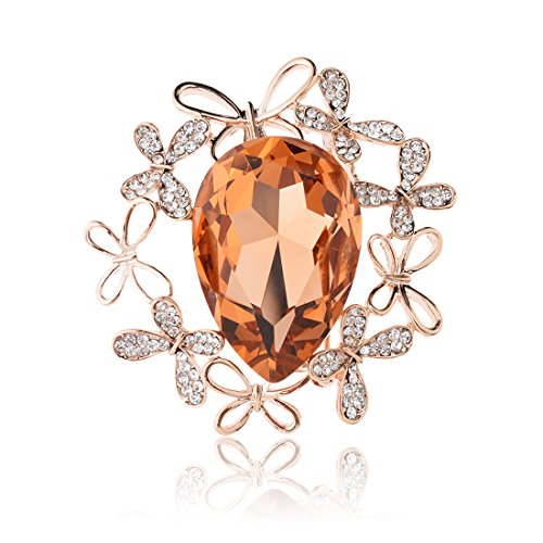 TAGOO Vintage Oval Teardrop Flower Leaf Scarf Brooch Bouquet Pin for Women& Teen Girls in Crystal Rhinestone (Gold Yellow Oval Teardrop 4-Leaf Design 1.85