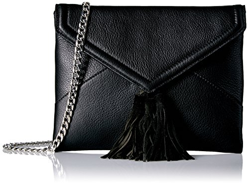 The Fix Izzi Envelope Clutch with Chain Crossbody Strap, Black