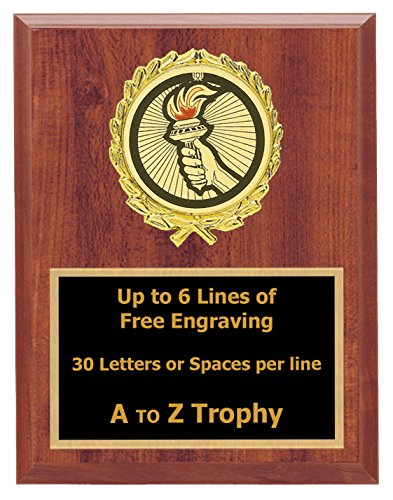 Torch Victory Plaque Awards 7x9 Wood Academic Achievement Education Trophy Games Sports Trophies Free Engraving