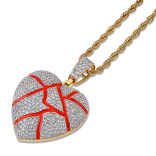 (SENTERIA Hip Hop Iced-Out Men Necklace Rapper 18K Gold Plated CZ Fully Bling Bubble Broken Heart Pendant Necklace Chain for Men Women Fashion Jewelry Gifts (Twotone Heart))