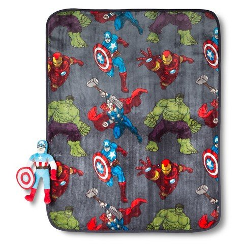 Marvel Avengers 'Captain America' Pillow Pal Character Plush and Soft Fleece Blanket Throw, 2 Pc (Avenger 2 Characters)