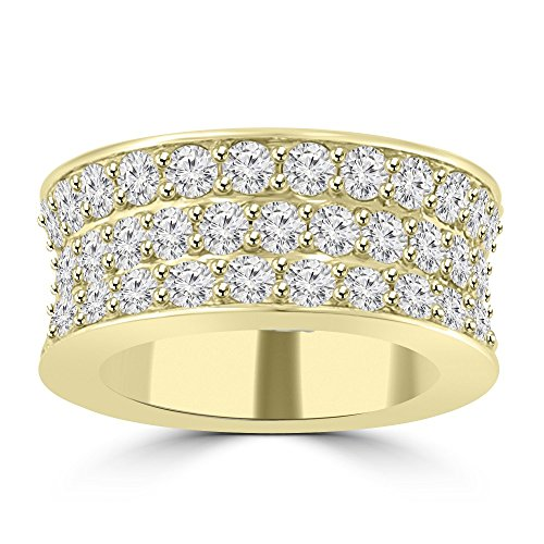 Yellow Gold Three Color - 6.92 ct Three Row Round Cut Diamond Eternity Wedding Band Ring G Color SI-1 Clarity) in 14 kt Yellow Gold In Size 8