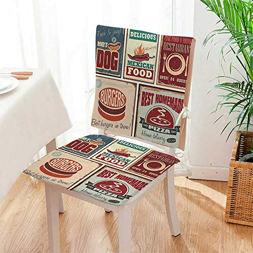 2 Piece Set Chair seat Pads Nostalgic Tin Signs and Retro Mexican Food Prints Aged Advirtising Logo Style Artistic Dining Garden Patio Mat:W17 x H17/Backrest:W17 x H36 by Mikihome