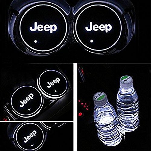 車用 LED ドリンクホルダー レインボーコースター 車載 ロゴ ディスプレイライト LEDカーカップホルダー マットパッド (Jeep) B079BSYX2R Jeep Jeep