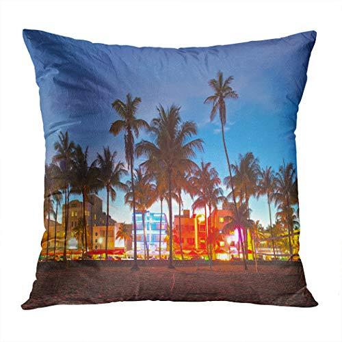 Suike Throw Pillow Cover Miami Beach Florida Hotels Restaurants Sunset Hidden Zipper Home Sofa Decorative Cushion Case 18x18 Inch Square Printed Pillowcase