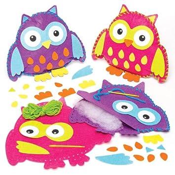 Kits de Costura para Hacer Cojines de Fieltro con Forma de búhos (Paquete de 2) Manualidades Infantiles para Decorar, exhibir y Regalar
