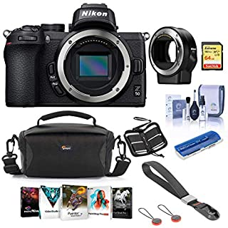 Nikon Z50 Mirrorless Camera Body - Bundle with Nikon Mount Adapter FTZ, Camera Case, Peak Camera Cuff Wrist Strap Charcoal, 64GB SDXC Card, Cleaning Kit, Memory Wallet, Card Reader, Software Package