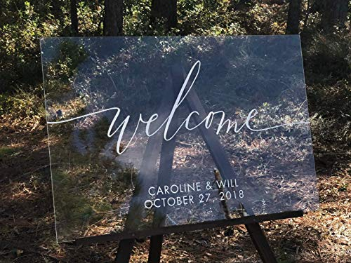 Clear Acrylic Welcome Wedding Sign - Wedding Reception Welcome Sign Custom Lettered with White Ink on Clear Acrylic Display - Custom Print Wedding Welcome Sign, Perfect as Rustic Wedding Decorations -