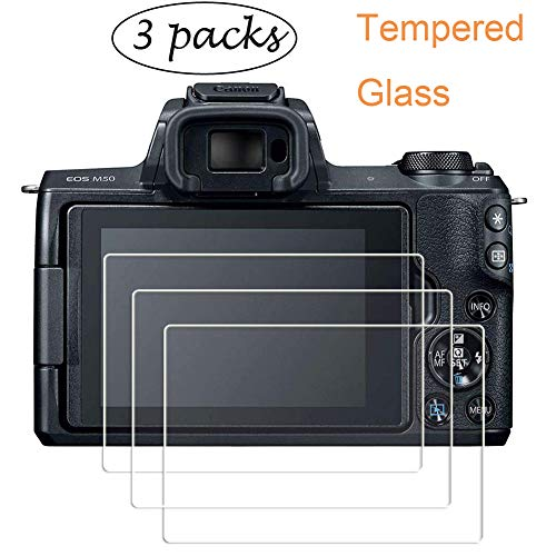 PCTC Screen Protector for Canon EOS M50 Canon EOS 200D M100 Tempered Glass Film Foils Anti-scrach Anti-Dust Anti-Fingerprint Waterproof Foils (3 Pack)