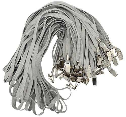 Bird Fiy 50 Pcs Cotton Lanyard Bulldog Clip 32-inch Flat Braid Neck Lanyard for Id Cards/badges (Gray)
